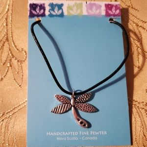 Pewter cord necklace/dragonfly